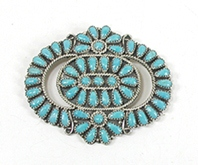 Vintage sterlling silver Turquoise Petit Point Pin Pendant
