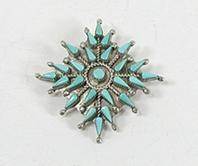 sterlling silver Turquoise Petit Point Pin Pendant