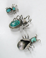 three vintage sterling silver and turquoise bug pins