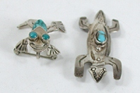 vintage sterling silver and turquoise frog and lizard pins