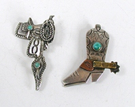 vintage sterling silver and turquoise Saddle and Boot Pins