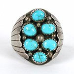 Vintage Sterling Silver Turquoise ring size 12 1/2  from the Cryer Creek Collection