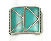 Vintage Sterling Silver Turquoise inlay ring size 10 1/2 from the Cryer Creek Collection