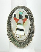 Vintage Sterling Silver and stone inlay Crown Dancer ring size 10 1/4 from the Cryer Creek Collection
