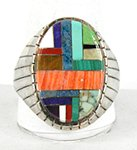 Vintage Sterling Silver and multi-stone inlay ring size 16