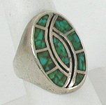 Vintage Sterling Silver turquoise chip inlay ring size 11 1/2