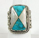 Authentic Native American Vintage Sterling Silver turquoise and mother of pearl inlay ring size 12 1/2 by Bernadette Eustace Cochiti Zuni