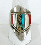 Vintage Sterling Silver Inlay Ring size 12