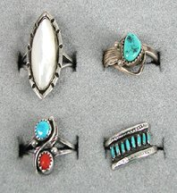 Lot of 4 Sterling Silver rings size 5 to 5 7/8