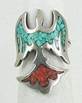 Sterling Silver chip inlay turquoise and coral peyote bird Ring