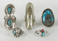 Lot of Five Sterling Silver Rings size 3 to 3 7/8