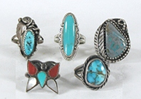 Lot of Five Sterling Silver Rings size 4 to 4 7/8