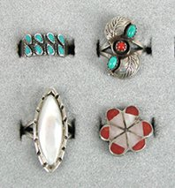 Lotg of 4 Sterling Silver and stone Rings