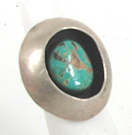 Vintage Sterling Silver and Turquoise shadowbox  ring size 6 3/4