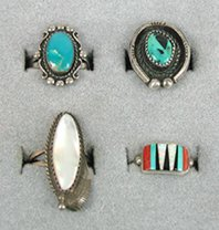 Lotg of 4 Sterling Silver and stone size 7 to 7 7/8
