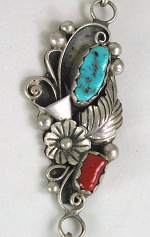 Vintage Native American Turquoise And Coral Necklace And Slave