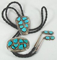 Authentic Native American Vintage Turquoise Snakes Bolo and Buckle Set by Zuni artist Effie Calavaza