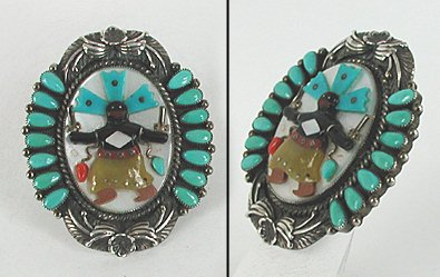 Authentic Native American rare museum quality sterling silver and stone inlay overlay devil dancer 7-piece set by Navajo artist Ernest Shirley