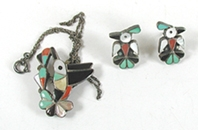 Vintage NOS inlay Hummingbird Pin Pendant with chain and Thunderbird post Earrings