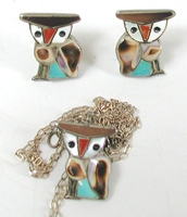 Vintage NOS Inlay Owl Pendant and Post Earrings Set