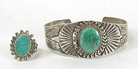 Vintage Fred Harvey era sterling silver and turquoise Pretty Girl Bracelet and Ring set