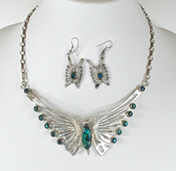 sterling silver and paua shell Butterfly Necklace and wire earrings Set