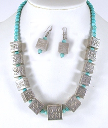 Sterling silver box bead and turquoise necklace and earrings set