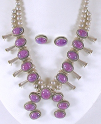 sterling silver charoite squash blossom necklace and earrings set