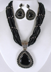 Navajo sterling silver black 10-strand necklace, pendant and earrings set