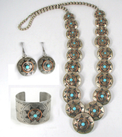 Authentic Native American sterling silver reversible wedding basket necklace and cuff bracelet set by Navajo Silversmith Claude Gatewood
