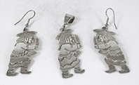 vintage Sterling Silver Kachina Dancers Set pendant and earrings by Floyd and Lloyd Becenti