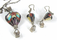 vintage Sterling Silver Inlay Balloons Set pendant and earrings