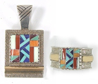 vintage Sterling Silver Kachina Dancers Set pendant and ring by Roderick and Marilyn Tenorio