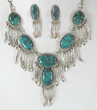 Turquoise Dangle Necklace and Post Earring Set by Navajo Eddie Begay