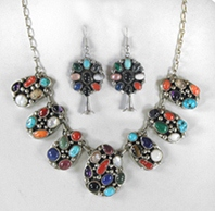 Multi-Stone Cluster Necklace and Earrings set