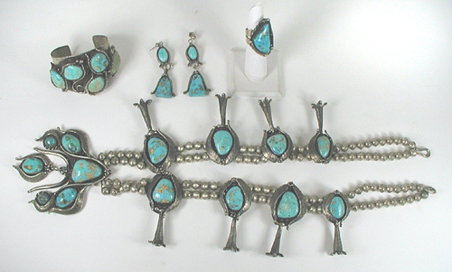 Vintage  Turquoise Squash Blossom Necklace, Bracelet, Ring and Earrings Set
