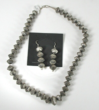 Sterling Silver NOS Fluted Bead Necklace and Earring Set
