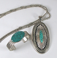 Turquoise Necklace, Pendant and Bracelet Set by Navajo artists Christin Wolf and William Vandever