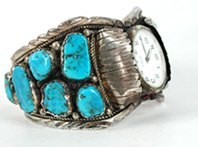 Authentic Vintage NOS Native American sterling silver and turquoise watch cuff
