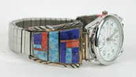 Authentic NOS Vintage Native American sterling silver Lapis and Spiny Oyster Inlay watch tips by Navajo Albert Yazzie