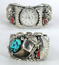 Authentic Native American vintage turquoise and coral sterling silver Claw watch cuff 7 1/8 inches by Navajo Mike Thomas Jr
