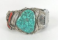 Authentic Vintage Native American large sterling silver and turquoise watch cuff by Silver Ray