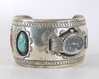 Turquoise, coral, sterling silver sidewinder watch cuff 6 3/8 inch