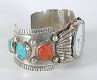 Turquoise, coral, sterling silver watch cuff 6 3/4 inch