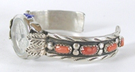 Authentic Native American Coral sterling silver watch cuff 6 1/2 inches by Zuni Wayne Calavaza