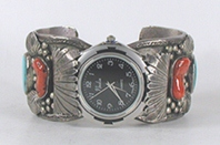 Authentic Native American Coral sterling silver watch cuff 6 3/4 inches by Navajo Della and Presley Curley