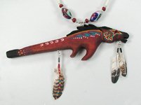 Native American hand carved bone horse stick bead necklace