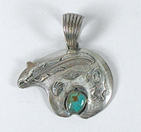 Native American Navajo  Sterling Silver and turquoise Bear pendant by Russell Sam Navajo