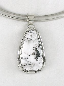 White Buffalo Stone Pendant Geneva Spencer Navajo Sterling