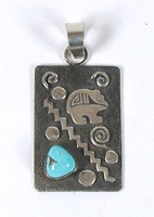 Native American Navajo  Sterling Silver turquoise symbols pendant